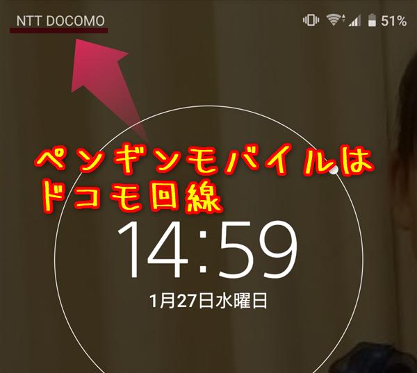 再起動すると『NTT DOCOMO』の電波を受信すればペンギンモバイルの乗り換えが完了です。
